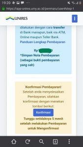 Untuk melanjutkan, diwajibkan membayar biaya pendaftaran, kemudian menekan tombol konfirmasi