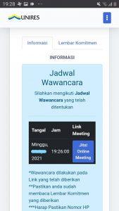 Saat waktu jadwal tiba, bila tabel jadwal digeser ke kiri, akan terlihat tombol untuk akses Tes Wawancara Online.